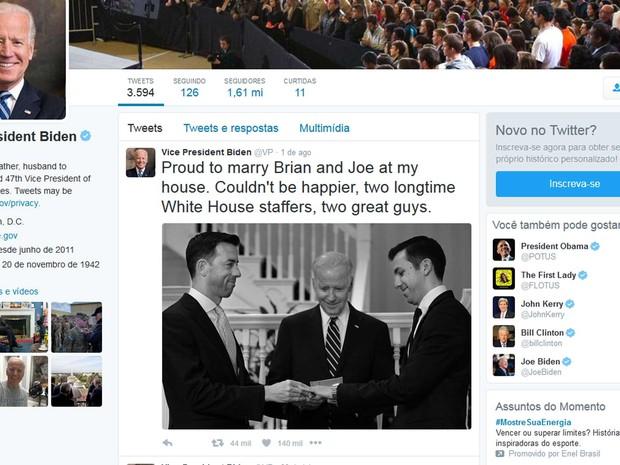 Vice-presidente dos EUA celebra casamento gay na Casa Branca (Crédito: Reprodução)