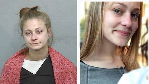 A jovem em foto divulgada pela polícia (à esq.) e a imagem que enviou pelo Facebook a uma emissora de TV  (Crédito: Reprodução)