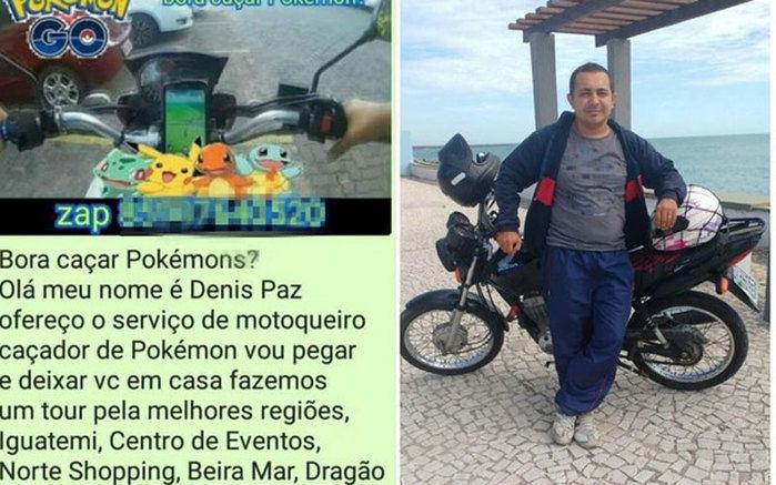 Motoboy do Pokémon está faturando em Fortaleza (Crédito: Divulgação)