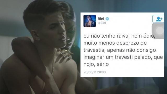 Mensagem no perfil de Biel no Twitter