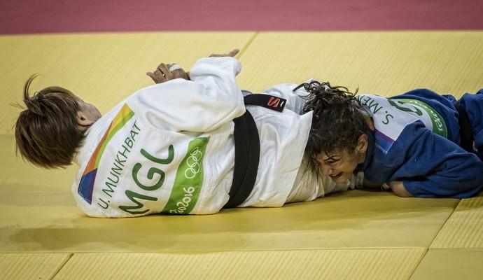 Sarah Menezes foi derrotada neste sábado (Crédito: Reprodução)
