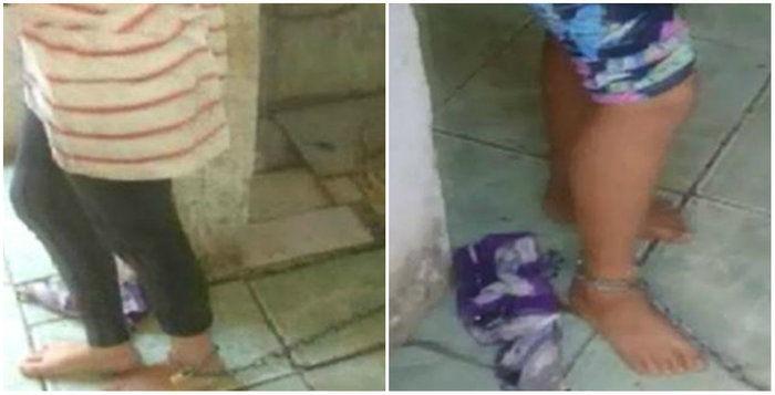 Mãe acorrenta filhas adolescentes dentro de casa no sul de Minas (Crédito: Reprodução)