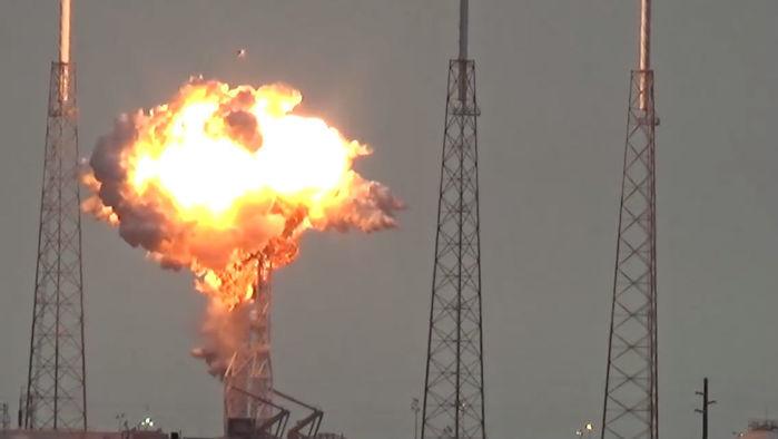 Momento em que o foguete explodiu (Crédito: Reprodução)