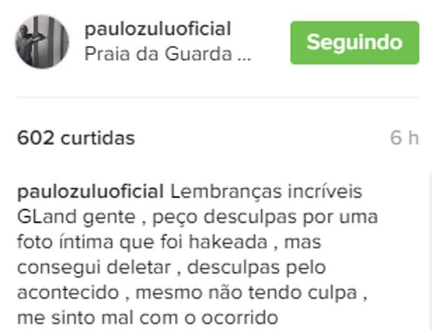 Paulo Zulu tem foto intima divulgada nas redes sociais (Crédito: Reprodução)