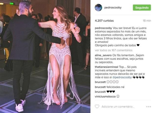 Pedro Scooby confirmou o fim do casamento com Luana Piovani (Crédito: Reprodução/ Instagram)