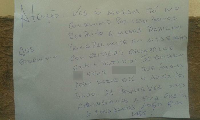 Bilhete recebido pelo Hugo Antônio Coelho