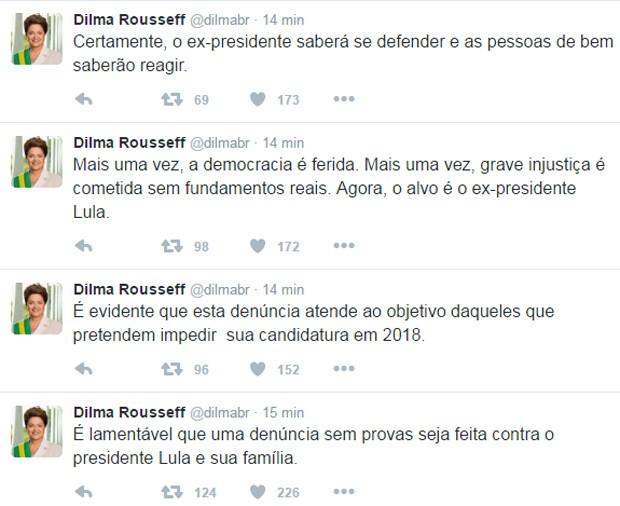 Dilma se manifestou no Twitter  (Crédito: Reprodução/ Twitter )