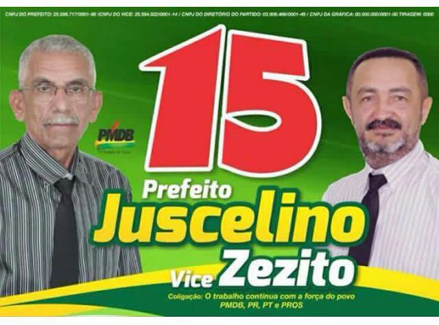 Juscelino Mesquita dos Reis e o seu vice José Eduardo Gonzaga Filho, o 'Zezito'