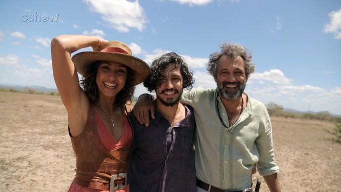 Camila Pitanga, Gabriel Leone e Domingos Montagner em gravações da reta final da trama