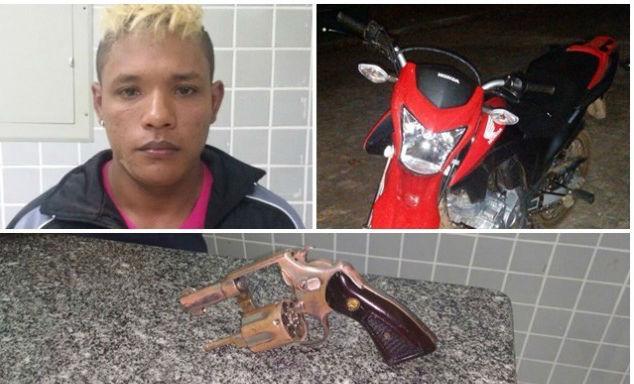 Revólver e moto encontrados com a dupla