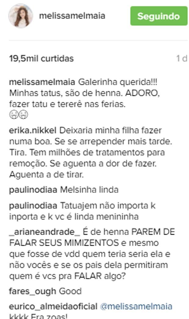 Mel Maia explica tatuagens após polêmica na web (Crédito: Reprodução)