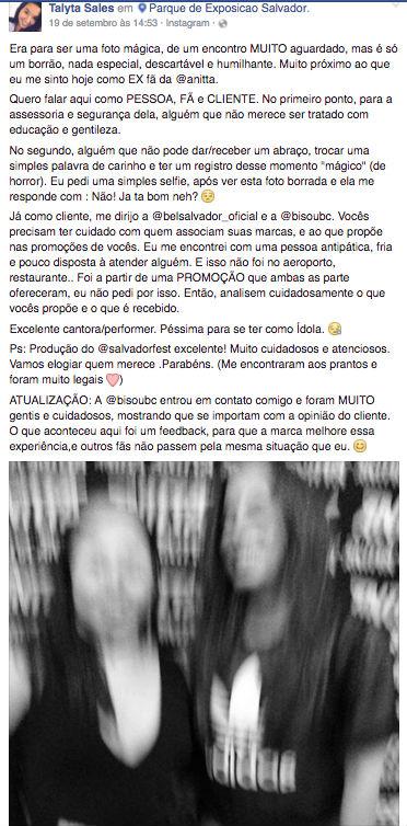Anitta humilha fã e post ganha repercussão na internet (Crédito: Reprodução)