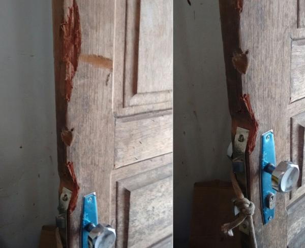Porta da casa arrombada (Crédito: Campo Maior em Foco)