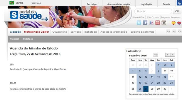 Agenda do ministro da Saúde apareceu com críticas a Temer no site do ministério (Crédito: Reprodução)