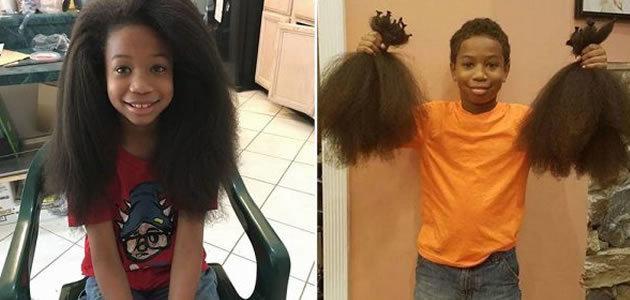 Menino deixa cabelo crescer para doar para crianças com câncer