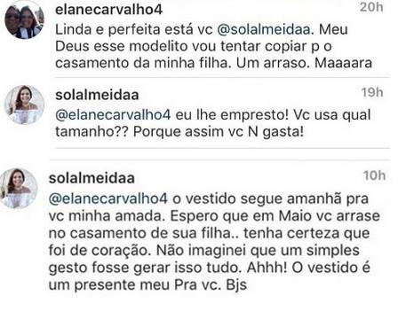 Solange Almeida surpreende e oferece vestido de festa para fã