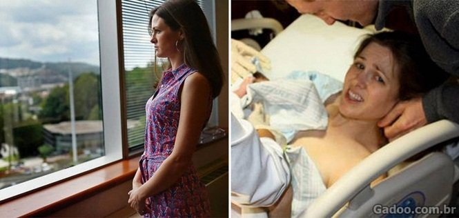 No momento do parto, Caroline teve o bebê empurrado de volta para vagina