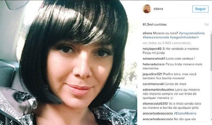 Apresentadora Eliana apareceu morena em foto postada no Instagram (Crédito: Reprodução)
