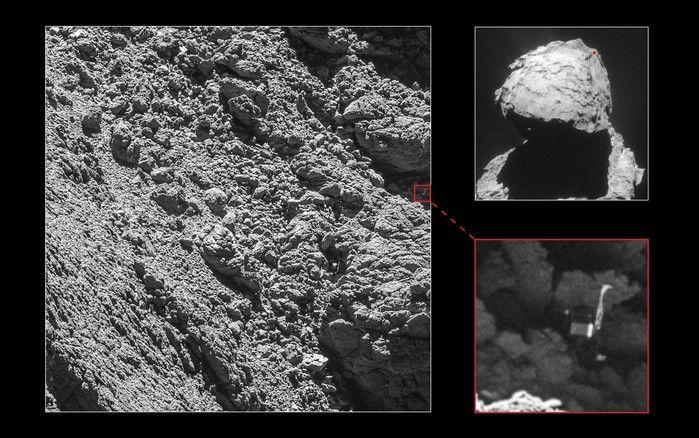 Robô Philae foi identificado pela câmera OSIRIS, da sonda Rosetta, em imagens tiradas em 2 de setembro (Crédito: Reprodução)