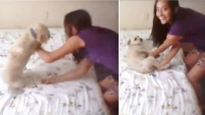 Jovem aparece em vídeo maltratando cachorrinho