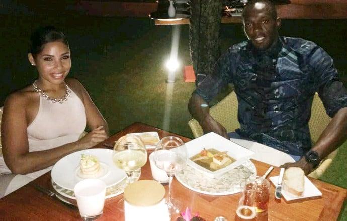 Usain Bolt e Kasi Bennet jantam após pedido de casamento  (Crédito: Reprodução)