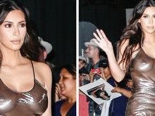 Kim Kardashian usa look transparente e mostra demais; fotos!