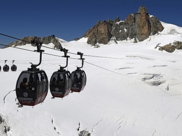 Foto de arquivo tirada em agosto de 2015 mostra o teleférico Panoramic Mont-Blanc (Crédito: AFP)