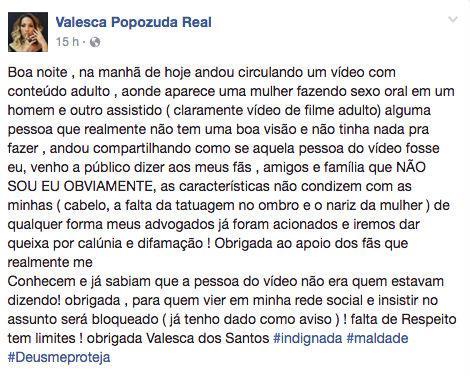Valesca Popozuda desabafa sobre suposto vídeo íntimo
