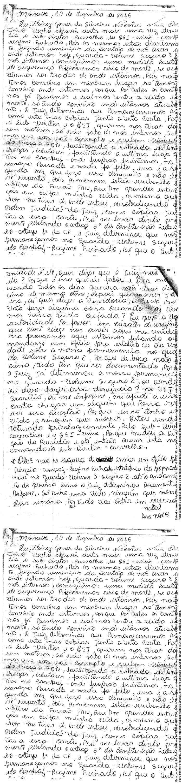 Carta feita pelos dois presos