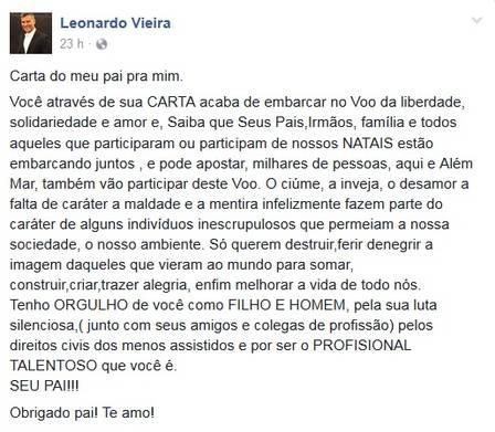 Leonardo Vieira recebeu apoio do pai