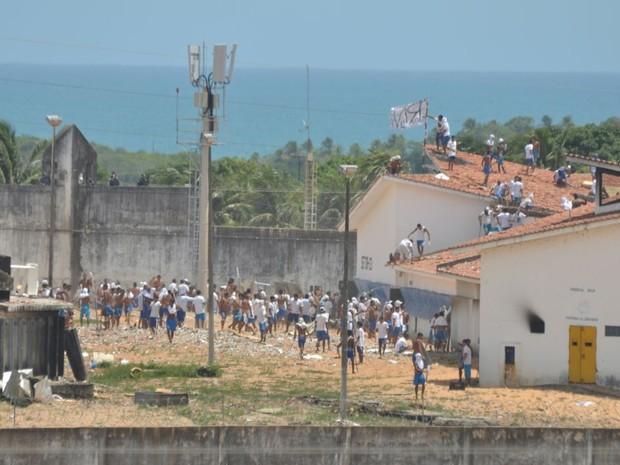 Presos fazem nova rebelião em Alcaçuz, no Rio Grande do Norte (Crédito: Magnus Nascimento/Tribuna do Norte)