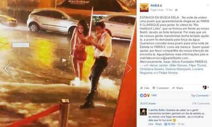 Mulher foi `arrastada` por enxurada na frente do restaurante