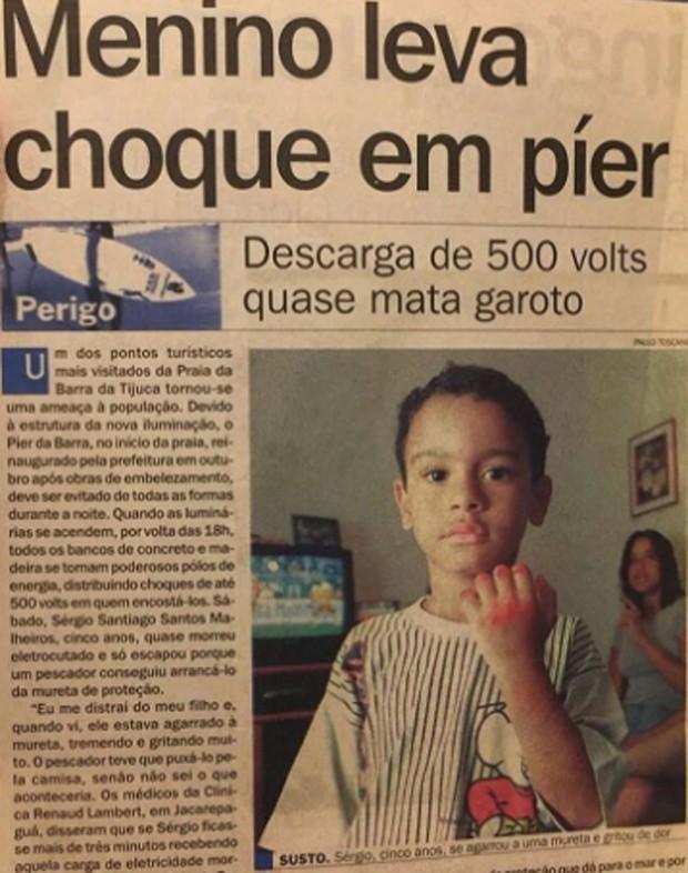 Sérgio Malheiros relembra descarga elétrica que quase o matou