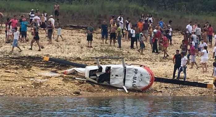 Helicóptero cai às margens do Rio Turvo e passageiros sobrevivem