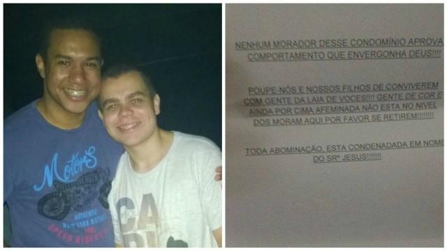 Casal gay recebe carta homofóbica