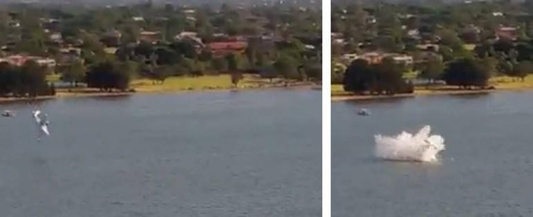 Pequeno avião cai em rio diante de milhares de pessoas; vídeo