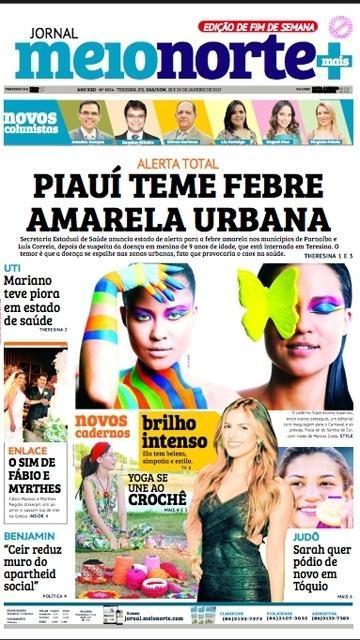 Capa do Jornal Meio Norte da edição do fim de semana  (Crédito: Reprodução)