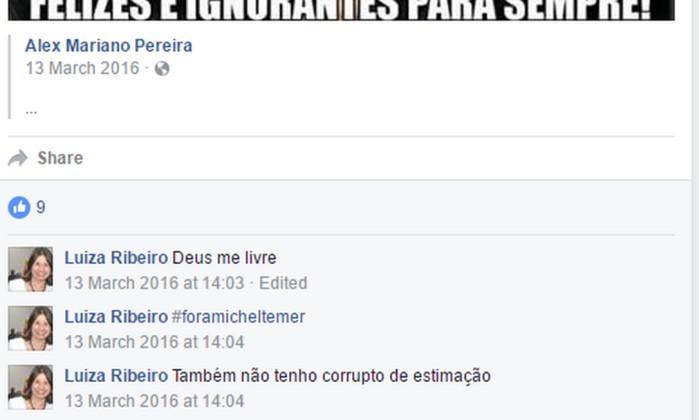 Luiza Ribeiro pediu demissão do cargo