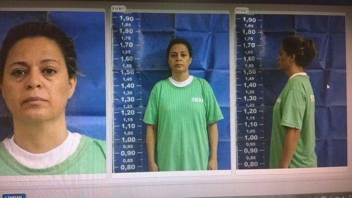 Imagem mostra a Françoise Oliveira, 40, presa temporariamente por suspeita de ter planejado a morte do embaixador grego Kyriakos Amiridis (Crédito: Reprodução)