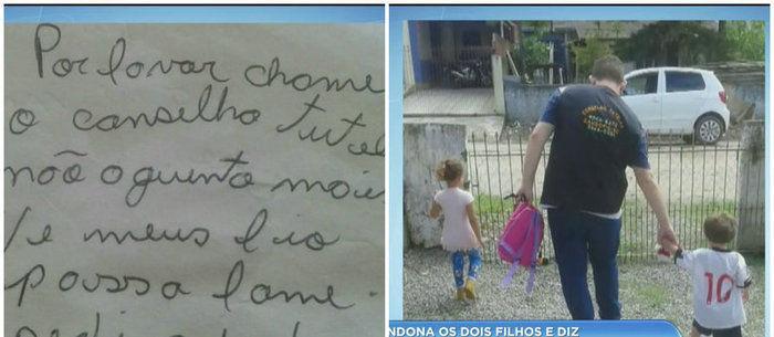 Mãe abandona filhos e deixa carta dizendo que eles passam fome