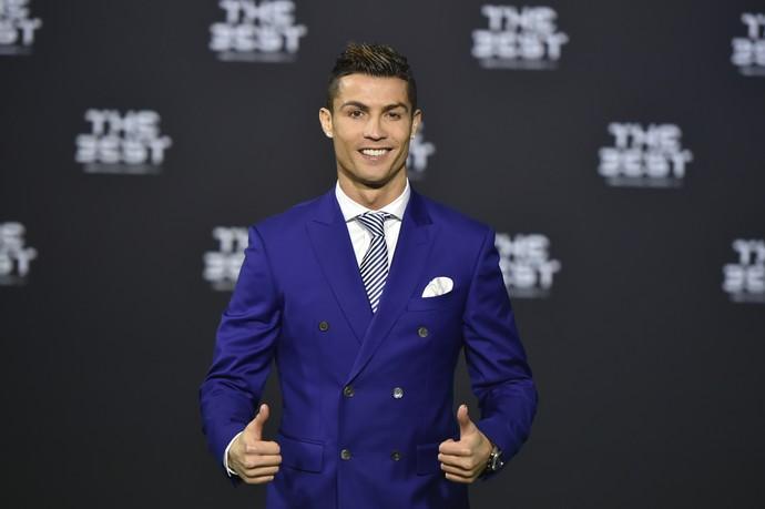 Cristiano Ronaldo na cerimônia da Fifa (Crédito: AFP)