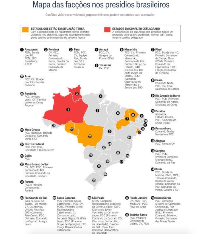 Mapa das facções no Brasil (Crédito: Reprodução)