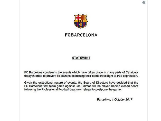 Barcelona enfrantará Las Palmas com portões fechados no Camp Nou