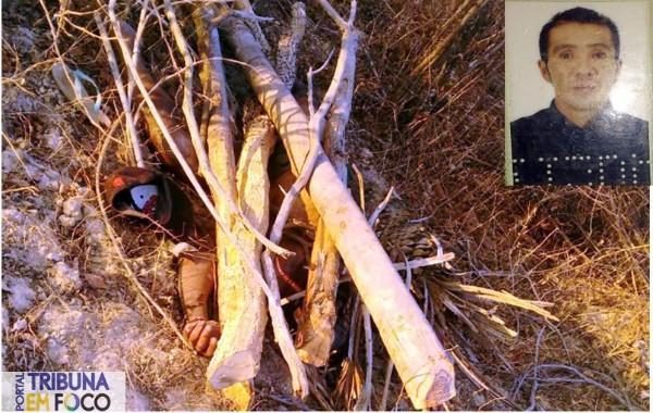 Corpo da vítima foi encontrado coberto por galhos (Crédito: Reprodução)