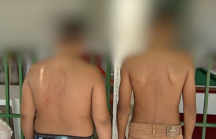 Três crianças são espancadas por policial na z. Sul de Teresina (Crédito: Reprodução/AGORA)
