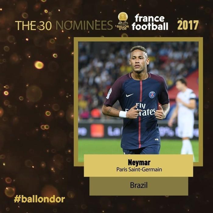 Neymar concorre ao prêmio Bola de Ouro (Crédito: Reprodução)