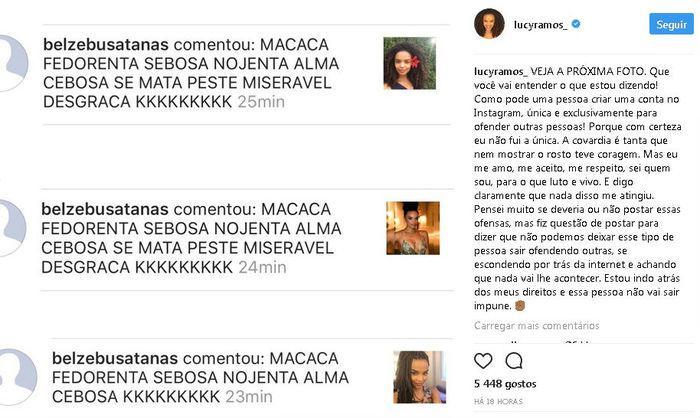 Lucy Ramos é alvo de racismo (Crédito: Instagram)