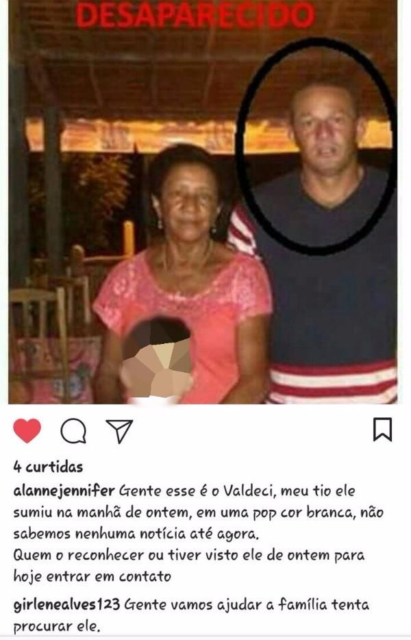 Família estava a procura de Valdeci (Crédito: Tribuna em Foco)