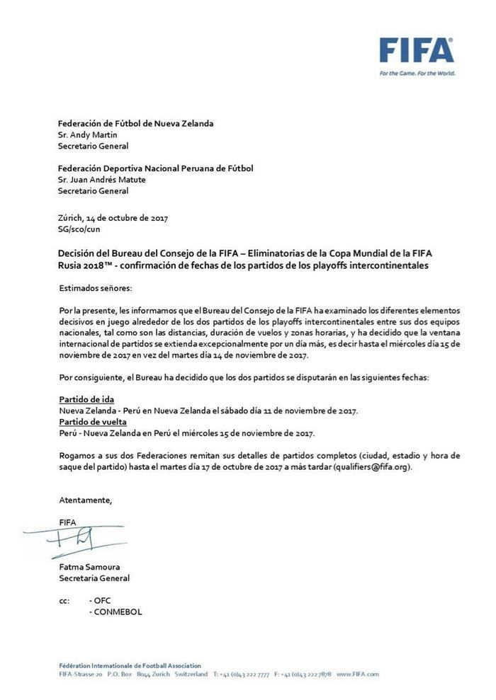 FPF divulgou em seu Twitter carta enviada pela Fifa (Crédito: Reprodução)