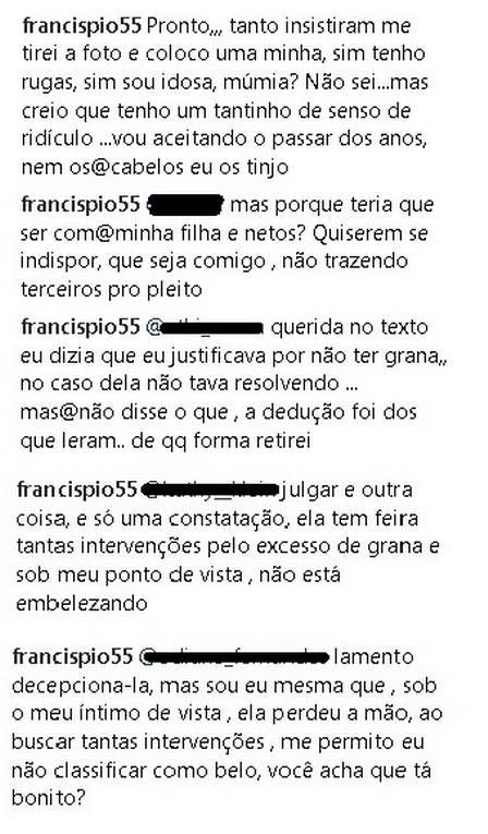 Após a foto, mãe da atriz respondeu comentários (Crédito: Reprodução/Instagram)